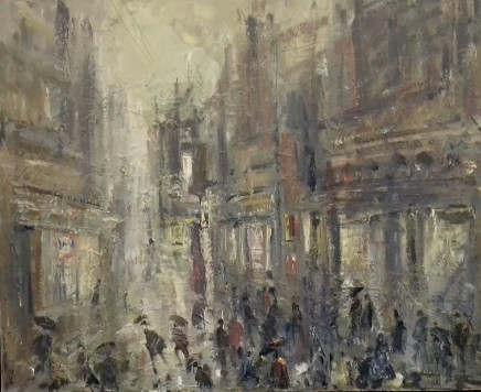"""Gareth Parry SHOPPING IN THE RAIN Oil on linen canvas 20""""X24"""""""