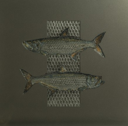 Sam Macdonald TARPON IN DETAIL Pewter, Gold Leaf and Aluminium 61 x 61cm