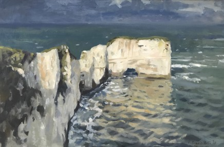 "Alice Boggis-Rolfe  LEADEN SKIES OVER OLD HARRY ROCKS  Oil on canvas  16"" x 20"""