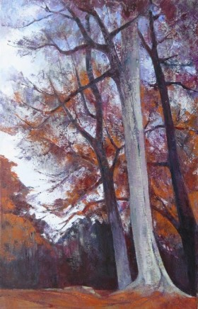 "Frederike Stokhuyzen  AUTUMN NEAR ROTHERWICK, HAMPSHIRE II  Oil on canvas  24"" x 15"""