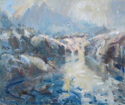 """Gareth Parry THE LAKE UNDER SNOWDONIA Oil on canvas 20"""" x 24"""""""