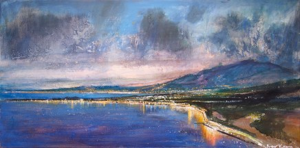 Peter Kettle  SICILY, TAORMINA - TWILIGHT OVER THE GULF OF NAXOS  Mixed Media on canvas  100 X 50cm