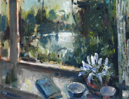 """Gareth Parry WINDOW BY THE RIVER, SPRING Oil on canvas 20""""X26"""""""