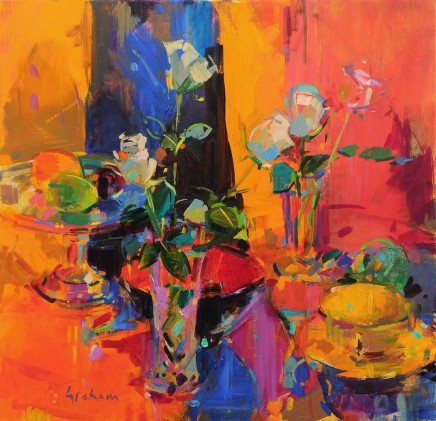 "Peter Graham  STILL LIFE WITH ROSES AND FRUIT  Oil on canvas  24"" X 24"""
