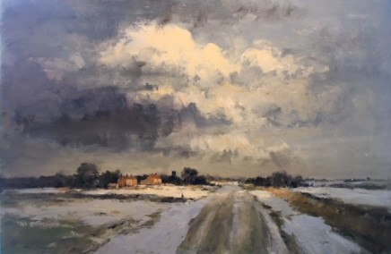 Ian Houston  THE THAW, NORTH NORFOLK  Oil on Board  61 X 92cm