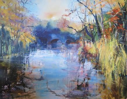 "Maureen Davies AVON REFLECTIONS Oil on canvas 39"" X 32"""