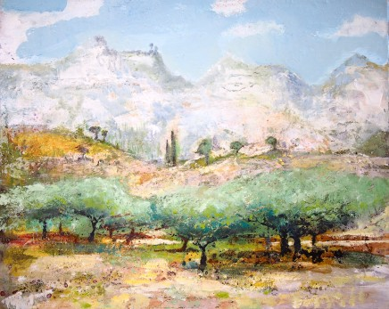 Peter Kettle OLIVE TREES, CASTELMOLA, SICILY Mixed Media on canvas 50 X 40cm