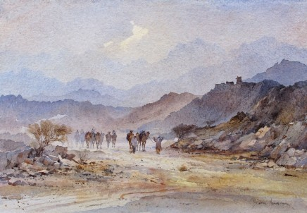 David Howell  THE TRAIL NORTH FROM SA'DAH, YEMEN  Watercolour