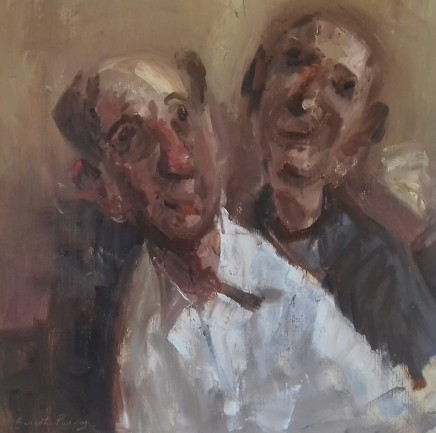 """Gareth Parry TWO CHARACTERS (Where shall we go tonight?) Oil on canvas 16"""" x 16"""""""
