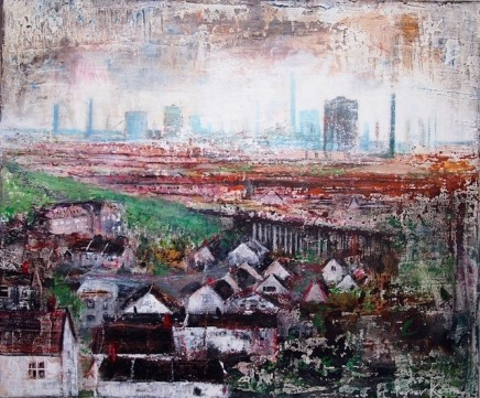 "Peter Kettle  PORT TALBOT, ROOFTOPS  Plaster, Oil, Acrylic, Watercolour Ink  23.5"" X 20"" (framed)"