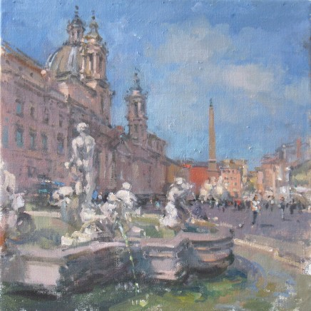"John Martin  PIAZZA NAVONA, ROME  Oil on canvas  16"" x 16"""
