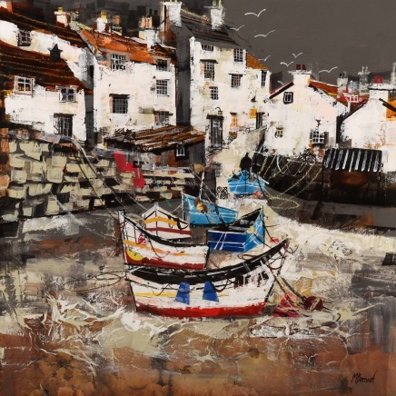 "Mike Bernard CLUSTER OF BOATS, STAITHES Mixed Media 24"" X 24"""