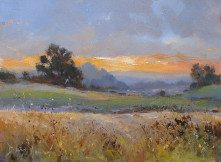 "David Howell  SUNRISE AT STEARSBY  Oil  7"" x 9"""