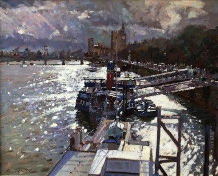 """Bruce Yardley TATTERSHALL CASTLE FROM HUNGERFORD BRIDGE Oil 24"""" X 30"""""""