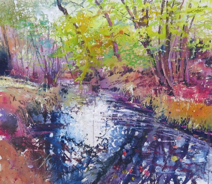 """Maureen Davies AUTUMN IN THE FOREST Mixed Media 22"""" X 19"""""""