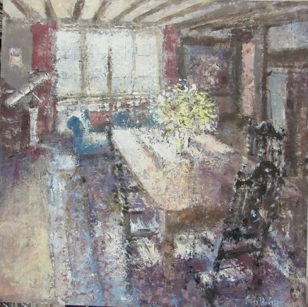 """Gerald Green LILLIES IN THE DINING ROOM Oil 16"""" X 16"""""""