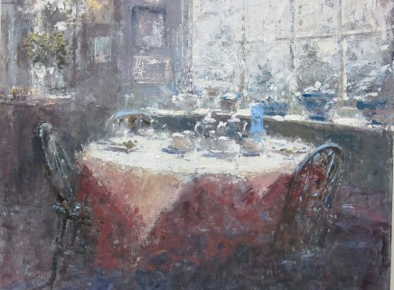 """Gerald Green TABLE IN THE WINDOW Oil 10"""" X 14"""""""