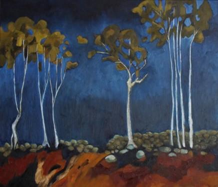 "Teresa Lawton SILVER GHOST TREES Oil on canvas 12"" X 14"""