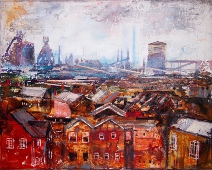 "Peter Kettle  PORT TALBOT, MAY MIST  Plaster, Oil, Acrylic, Watercolour Ink  16"" X 20"""
