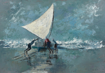 "Patrick Gibbs  LAUNCHING A FISHING BOAT, BRAZIL  Oil  30"" X 43"""