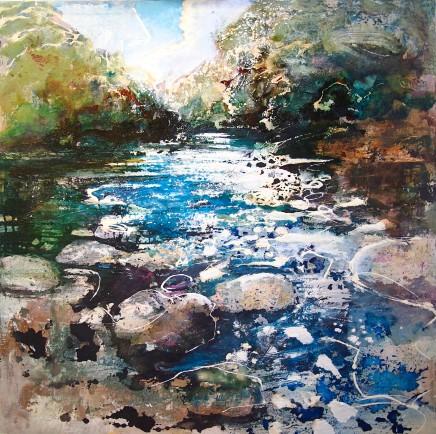 "Peter Kettle FRSA, RCA Born 1987 SUMMER, RIVER TEST, HAMPSHIRE Oil/Watercolour/Ink/Shellac 40"" x 40"""