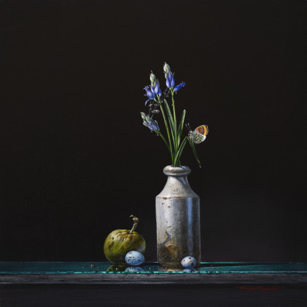 "Bryan Hanlon BLUEBELLS AND ORANGE TIP Acrylic on board 16"" x 16"""