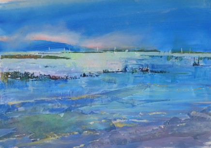 """Maureen Davies STORMY LIGHT ON THE SOLENT Oil and collage on paper 18"""" x 13"""""""