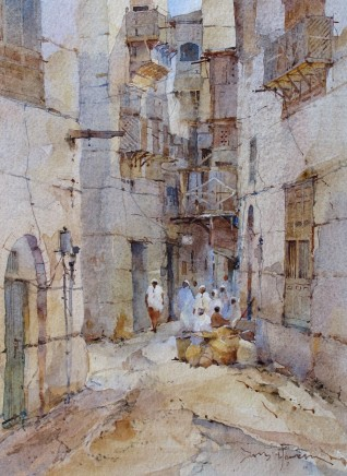 David Howell  BEDOUIN SOUQ, JEDDAH  Watercolour