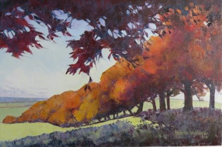 "Frederike Stokhuyzen  AUTUMN BEECHES, HAMPSHIRE  Oil on canvas  18"" X 26.5"""