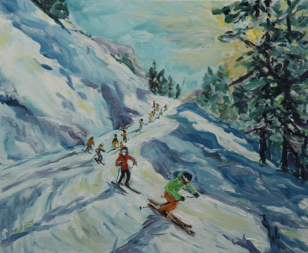 "Fi Katzler LAST RUN HOME Oil on canvas 18"" x 22"""