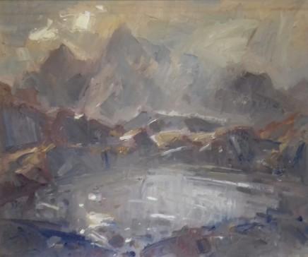 "Gareth Parry SUN THROUGH MORNING MISTS, SNOWDONIA Oil on canvas 24""X20"""