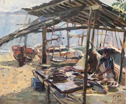 "Alice Boggis-Rolfe GALLE FISH MARKET Oil on Panel 10"" x 12"""