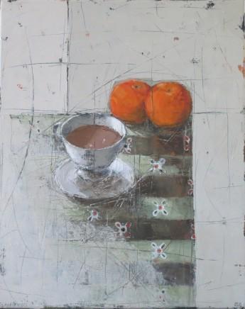 "Ann Armitage TEA AND ORANGES Oil on linen 20"" X 16"""