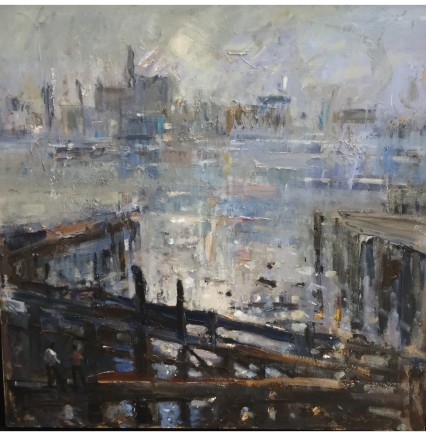 """Gareth Parry OLD DOCKS, MORNING MIST CLEARING Oil on canvas 24""""X24"""""""
