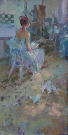 "Jacqueline Williams  ROBIN READING  Oil on canvas  24"" x 14"""