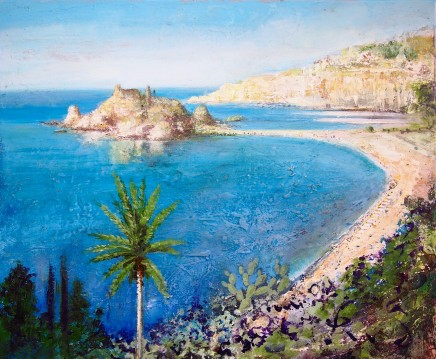 Peter Kettle SICILY, TAORMINA - ISOLA BELLA Mixed Media on canvas 60 X 50cm