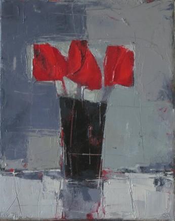 "Ann Armitage TULIP TRIO Oil on canvas 12"" x 9"""