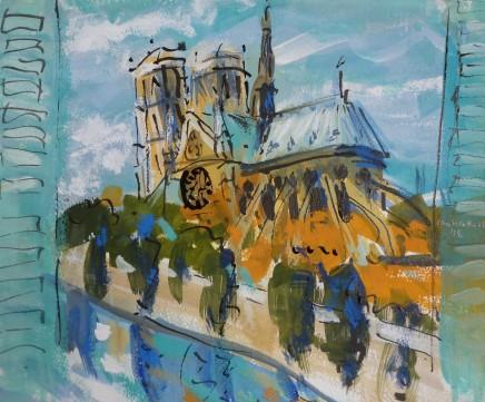 "Ian Weatherhead VIEW FROM WINDOW, PARIS Gouache on paper 11"" X 13"""