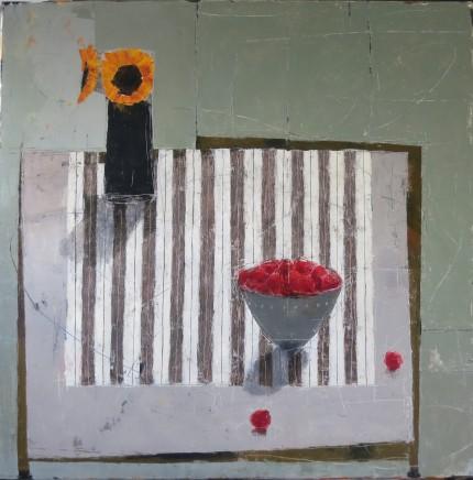 """Ann Armitage LATE SUMMER TABLE Oil on linen 39"""" x 39"""""""