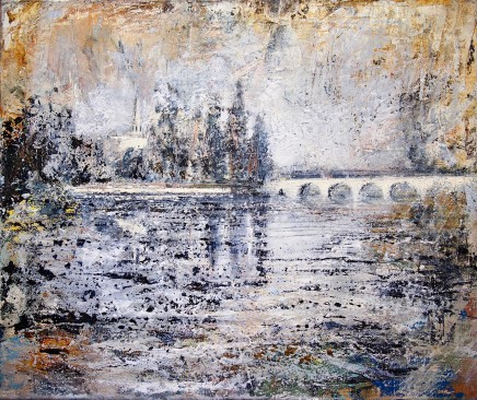 "Peter Kettle  WALLINGFORD BRIDGE, THAMES  Watercolour, Oil, Acrylic, Ink  24"" X 20"""