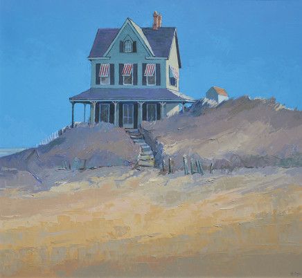 "Mary Pym  BEACH HOUSE  Oil on board  29"" X 32"""