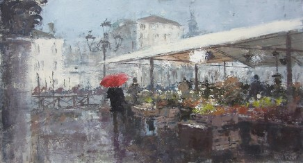 "Gerald Green  RAINY DAY MARKET VENICE  Oil  13"" X 24"""