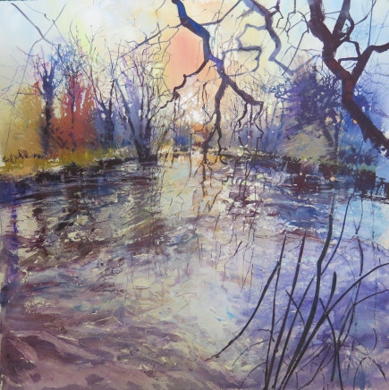"Maureen Davies THE RIVER SPARKLES Pastel and gouache 21"" x 21"""
