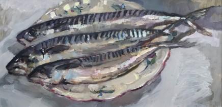 "Alice Boggis-Rolfe MACKEREL Oil on Panel 16"" X 10"""