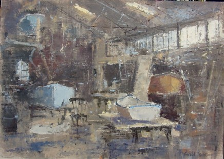 """Gerald Green IN THE BOAT SHED AT FELIXSTOWE FERRY Oil 12"""" X 16.5"""""""