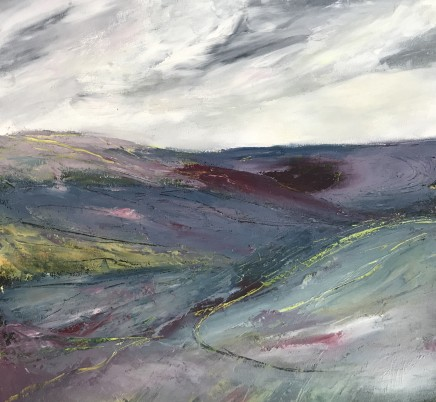 """Maggie Cochran THE HEATHER COVERED HILLS Mixed Media 12"""" X 12"""""""