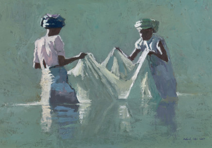 "Patrick Gibbs  WOMEN WITH A FISHING NET, MADAGASCAR  Oil  14"" X 20"""