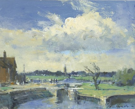 Ian Houston  SUMMER CLOUDS, LECHLADE  Oil on Board  23 X 28cm
