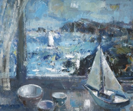 """Gareth Parry WINDOW BY THE SEA , TWO YACHTS! Oil on canvas 20""""X24"""""""