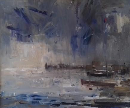 """Gareth Parry LITTLE HARBOUR, SUMMER RAIN Oil on canvas 24""""X20"""""""